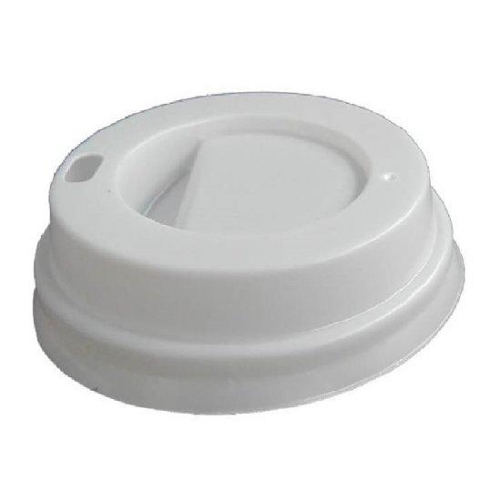 Capace Albe din Plastic pentru Pahare de Carton, Dimensiune 7 OZ, 100 Buc/Bax - Ideale pentru Bauturi Calde