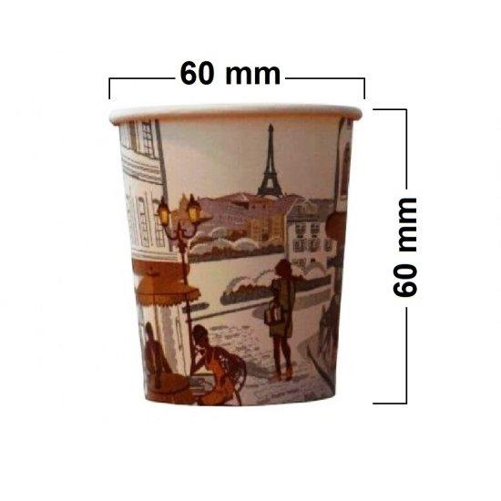 Pahare din Carton 4 Oz Model City Life (100 ml), 100 Buc/Bax - Pentru Bauturi Calde