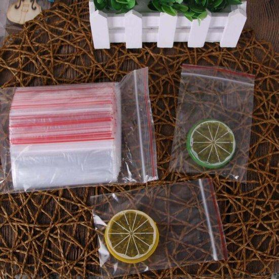 Pungi cu Fermoar, 50x70 mm, 100 Buc/Set, Grosime Folie 50 Microni, Punga Ziplock Transparenta cu Sistem de Resigilare - Pungi cu Inchidere